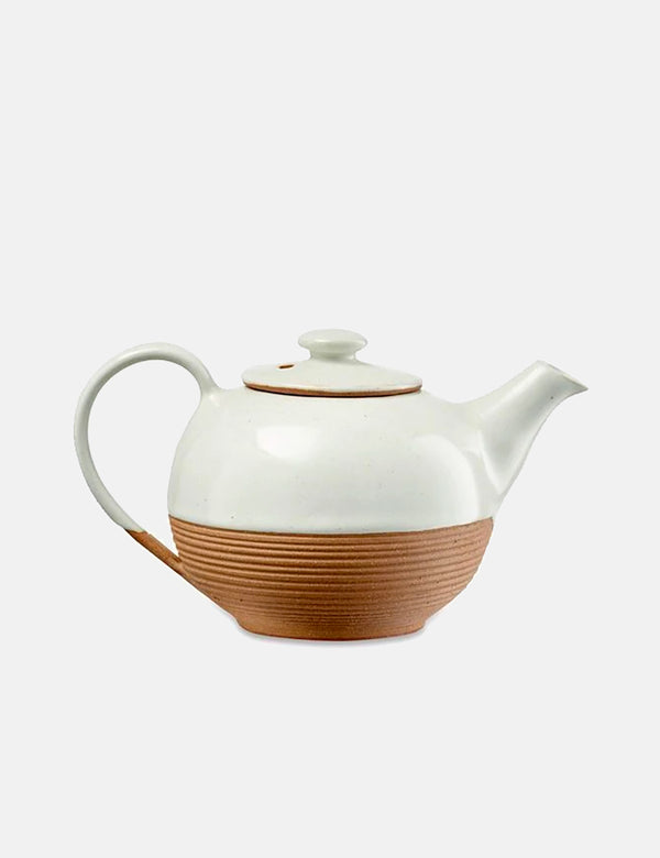 Nkuku Mali Ribbed Tea Pot (Terracotta) - White