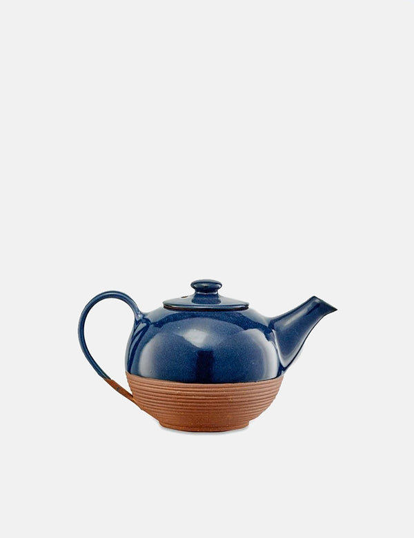 Nkuku Mali Ribbed Tea Pot (Terracotta) - Navy Blue