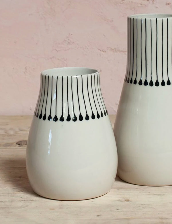 Nkuku Matamba Ceramic Vase (Small) - Black Matchsticks