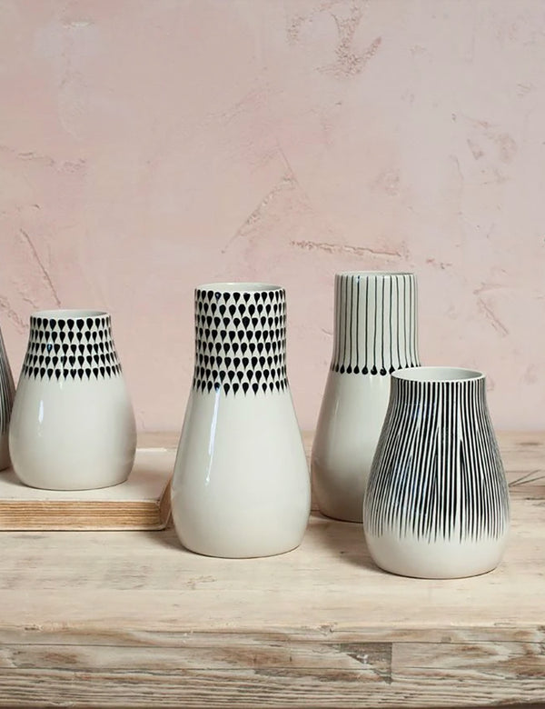 Nkuku Matamba Ceramic Vase (Large) - Black Matchsticks