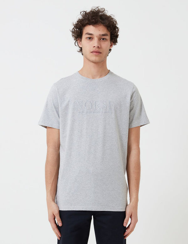 Norse Projects Niels Serif Embroidered Logo T-Shirt - Light Grey Melange