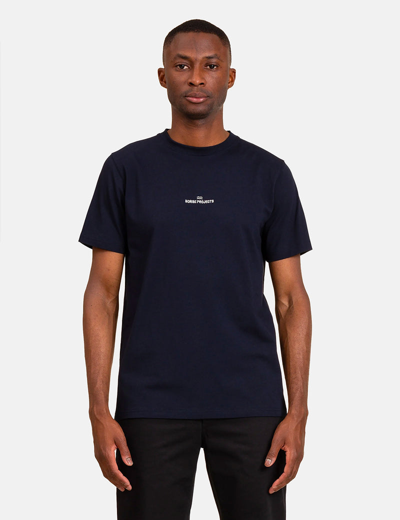 Norse Projects Niels Norse Projects Wave Logo T-Shirt - Dark Navy Blue