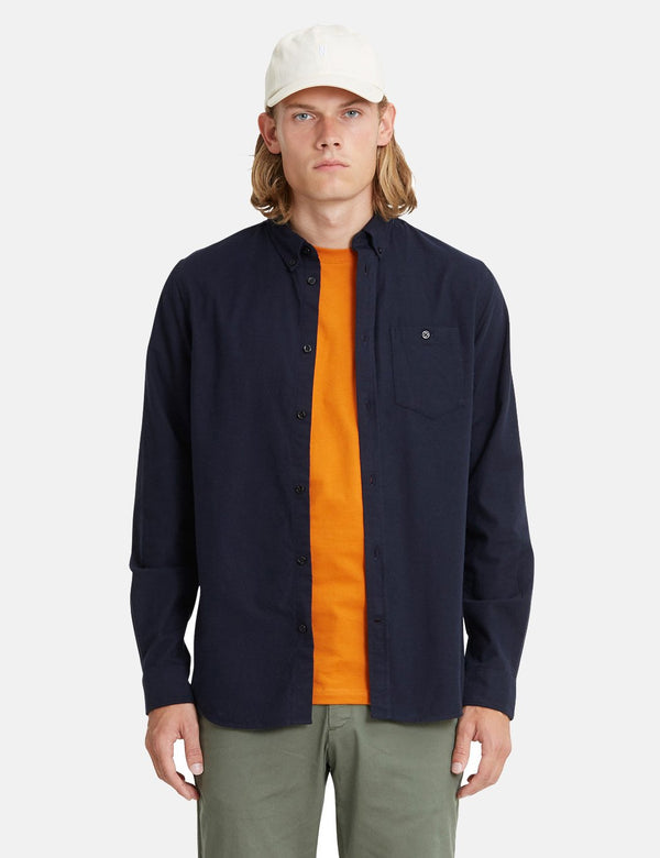 Norse Projects Anton Flannel Shirt (Brushed Cotton) - Navy Blue