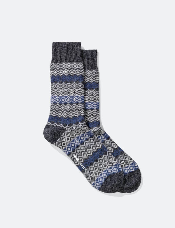 Norse Projects Bjarki Fairisle Socks - Charcoal Grey Melange