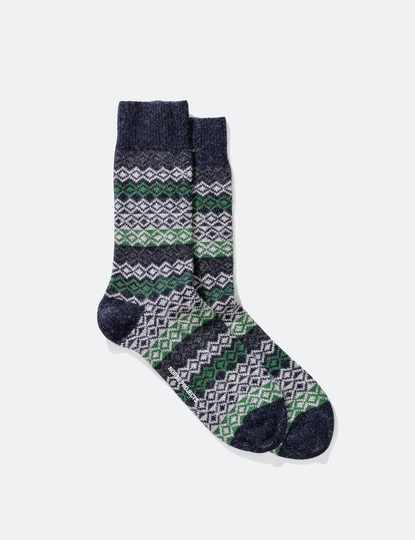 Norse Projects Bjarki Fairisle Socks - Navy Blue