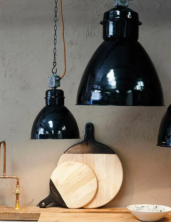 Nkuku Okello Industrial Pendant Light (Medium) - Black