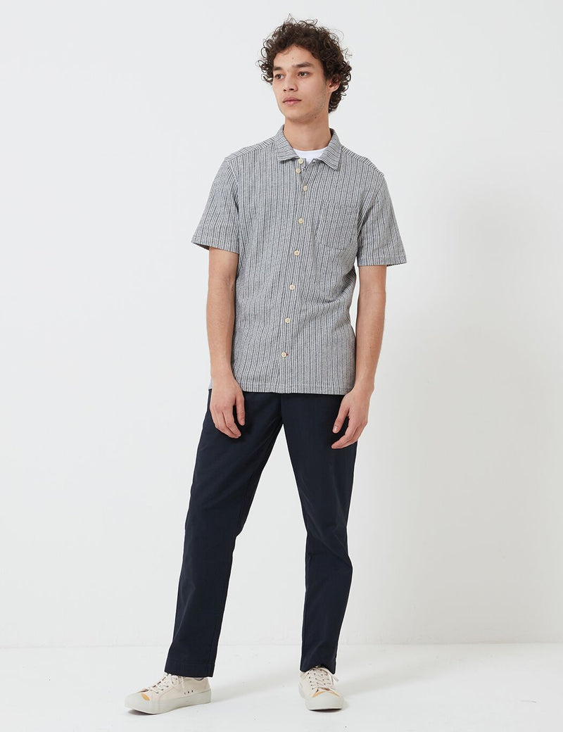 Oliver Spencer Hawaiin Jersey Shirt - Wellesley Navy/Oatmeal