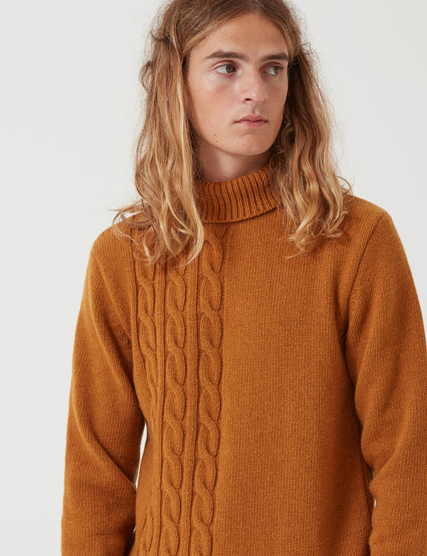 Oliver Spencer Talbot Roll Neck - Cable Ochre