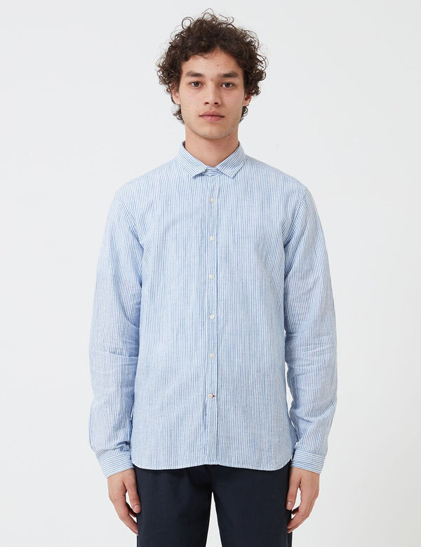 Oliver Spencer Clerkenwell Tab Shirt - Chiswell Blue