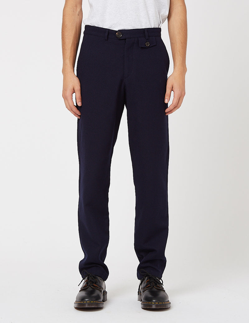 Oliver Spencer Fishtail Trouser - Buttress Navy Blue