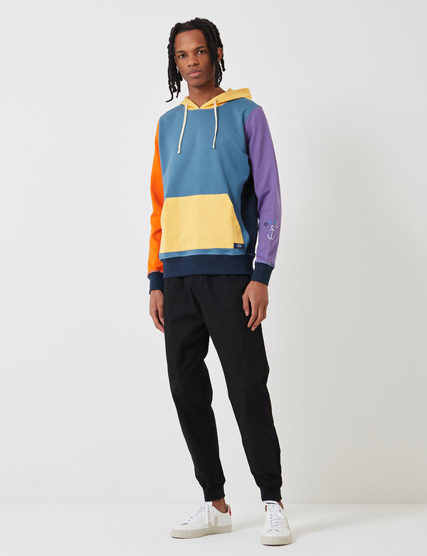 Bleu De Paname Embroidery Hooded Sweatshirt - Blue/Yellow/Orange/Purple