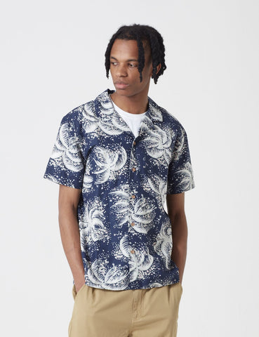 YMC Malick Palm Print Short Sleeve Shirt - Navy