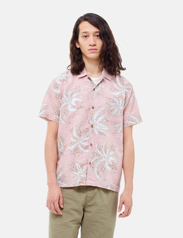 YMC Malick Palm Print Short Sleeve Shirt - Pink