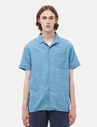 YMC Malick Short Sleeve Shirt - Bleached Blue