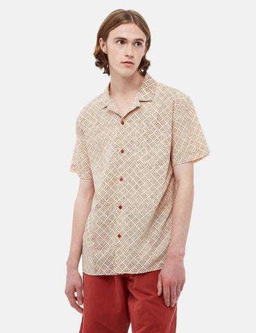 YMC Malick Short Sleeve Shirt Spice Dot - Beige