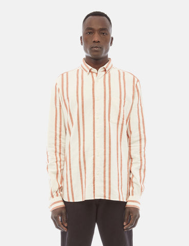 YMC Dean Button Down Stripe Shirt - Orange