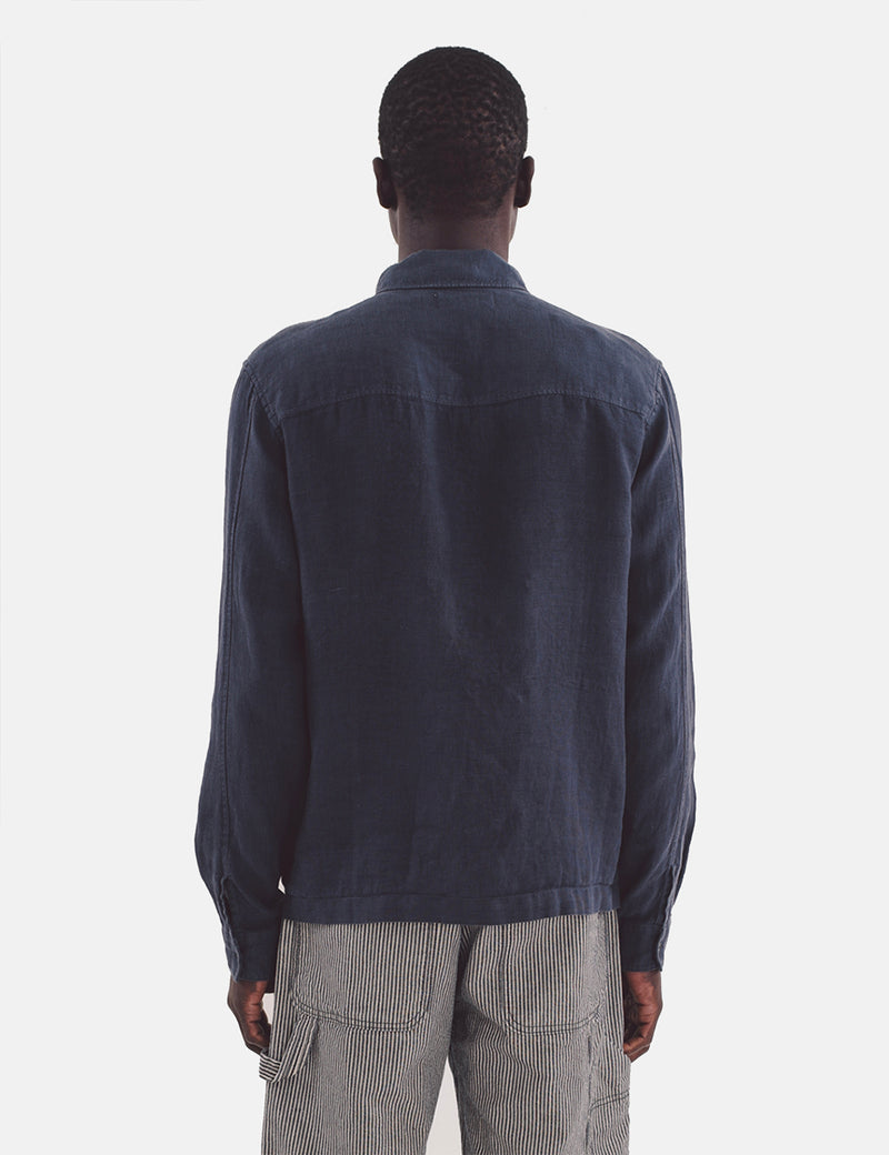 YMC Bowie Zip Shirt (Linen) - Navy Blue