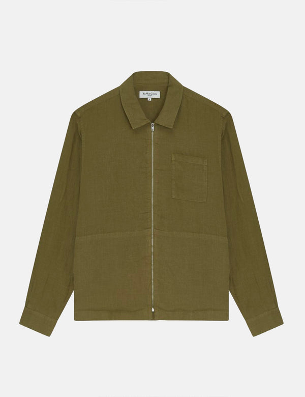 Chemise YMC Bowie (Lin) - Olive Green