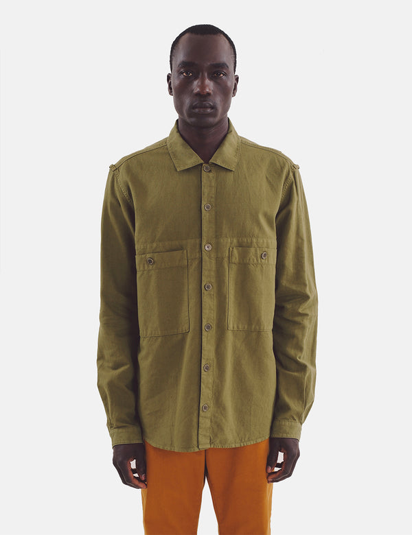 YMC Doc Savage Shirt - Olivgrün