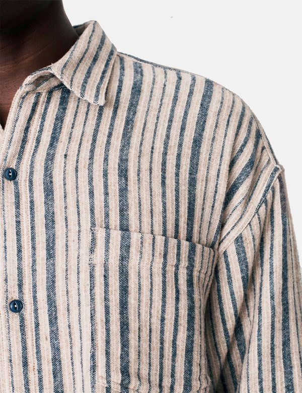 YMC Andre Shirt - Blue/Brown