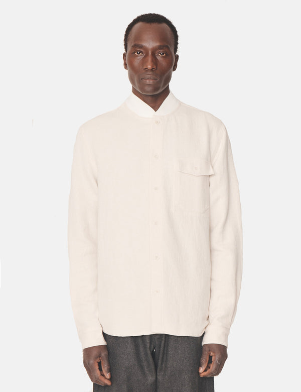 YMC Delinquents Rib Collar Shirt - White