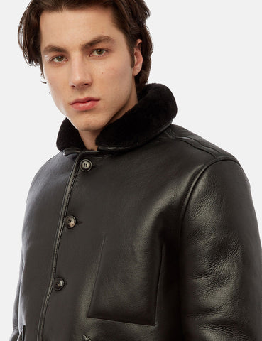YMC Brainticket Sheepskin Coat (Leather) - Black