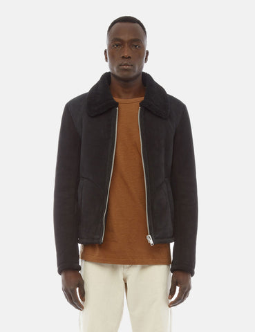 YMC Budgie Sheepskin Coat (Suede) - Black