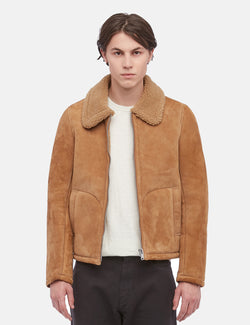 YMC Budgie Sheepskin Coat (Suede) - Tan