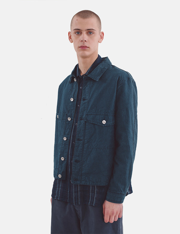 YMC Pinkley Jacket (Hickory Stripe) - Navy/Blue