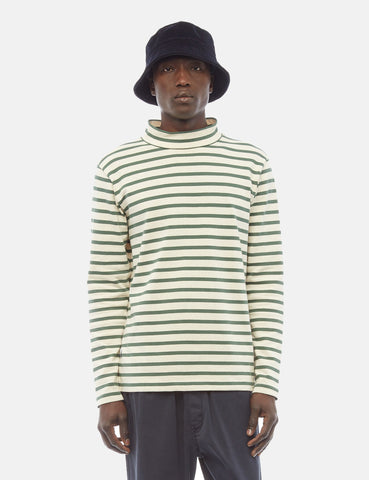 YMC Chino Turtleneck Breton Long Sleeve T-Shirt - Ecru/Green