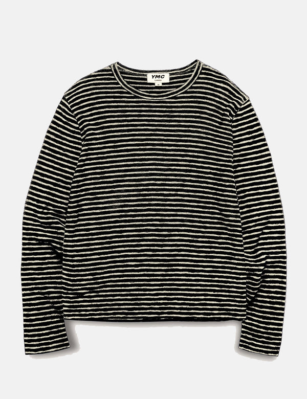 YMC X Sweatshirt (Stripe) - Black/Ecru