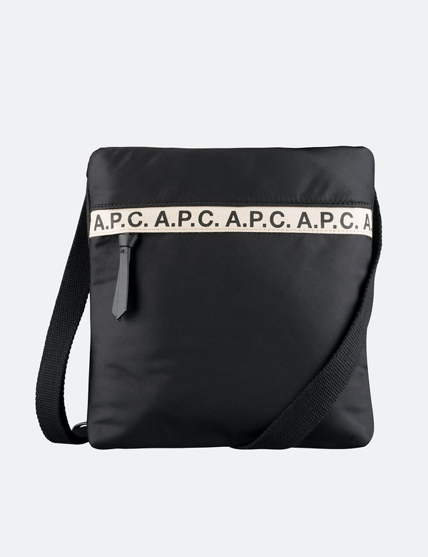 A.P.C. Repeat Logo Sacoche Side Bag - Black