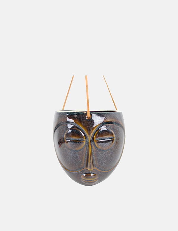 Present Time Hanging Mask Plant Pot (Glazed Porcelain) - Dark Brown