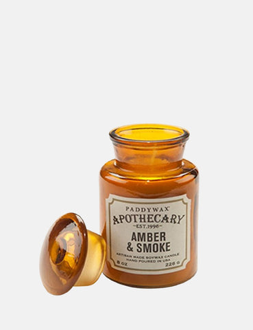 Paddywax Apothecary Glass Candle (8oz) - Amber & Smoke