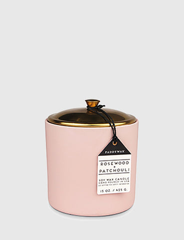 Paddywax Hygge Ceramic Candle (15oz) - Rosewood & Patchouli