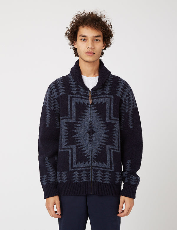 Pendleton Harding Zip Cardigan - Navy Blue