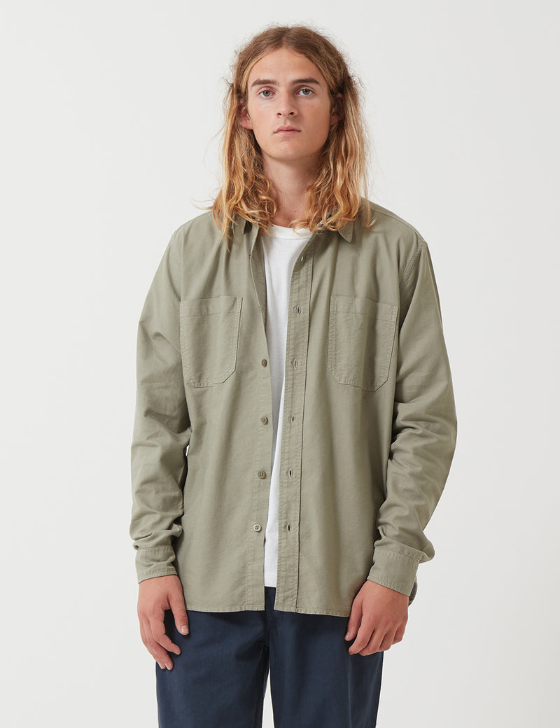 Nigel Cabourn Welder Pocket Oxford Shirt - Washed Army Green