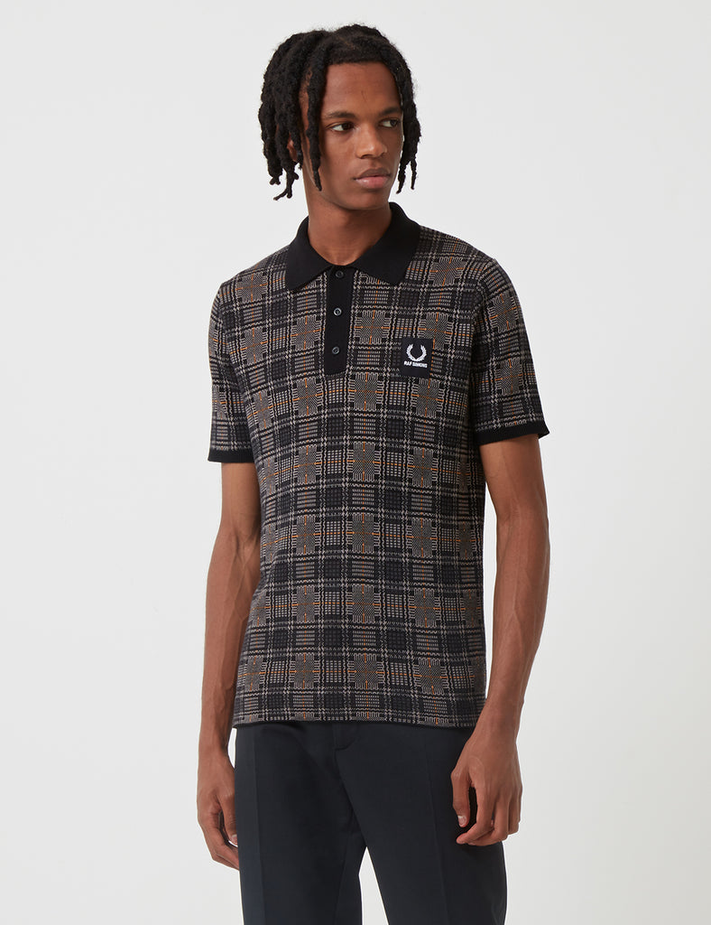 96fb208ad + Fred Perry x Raf Simons Jacquard Knit Polo Shirt - Charcoal Grey