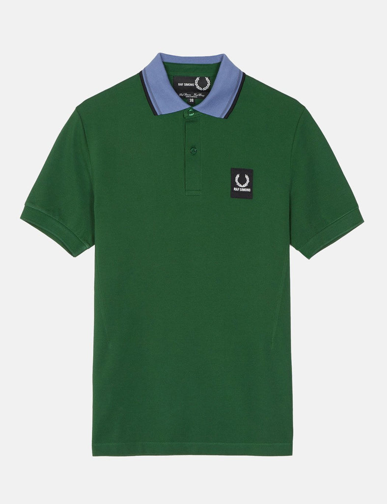 Fred Perry x Raf Simons Contrast Collar Pique Shirt - Tartan Green