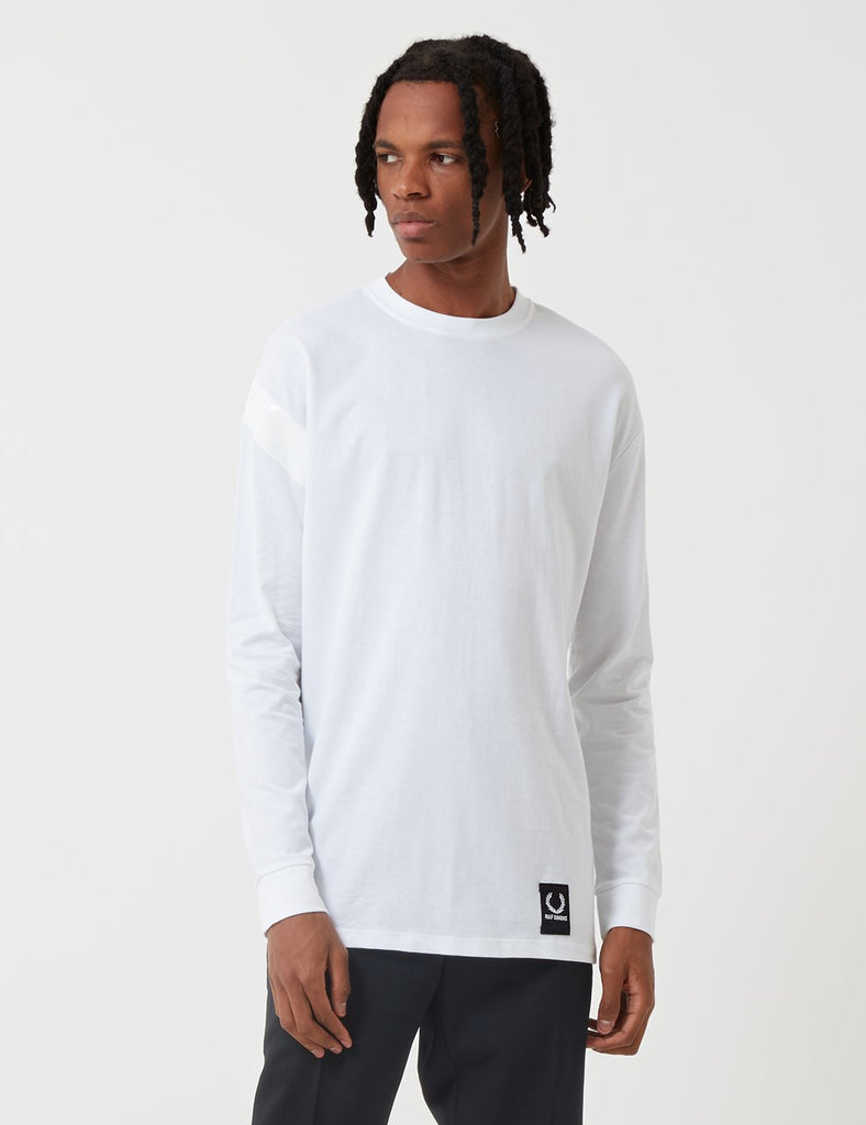 1d01f8a2 Fred Perry x Raf Simons Tape Detail Sleeve T-Shirt- White | Article.