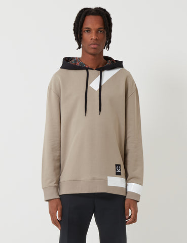 Fred Perry x Raf Simons Tape Detail Hooded Sweatshirt - Soft Grey