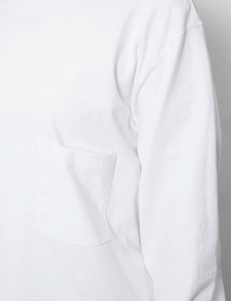 Snow Peak Heavy Cotton Garment Dyed Long Sleeve T-Shirt - White
