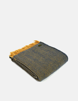 Tweedmill Herringbone Throw (150x183cm) - Navy/Mustard