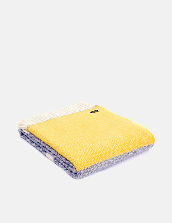 Tweedmill Illusion Panel Throw (150x183cm) - Grey/Yellow