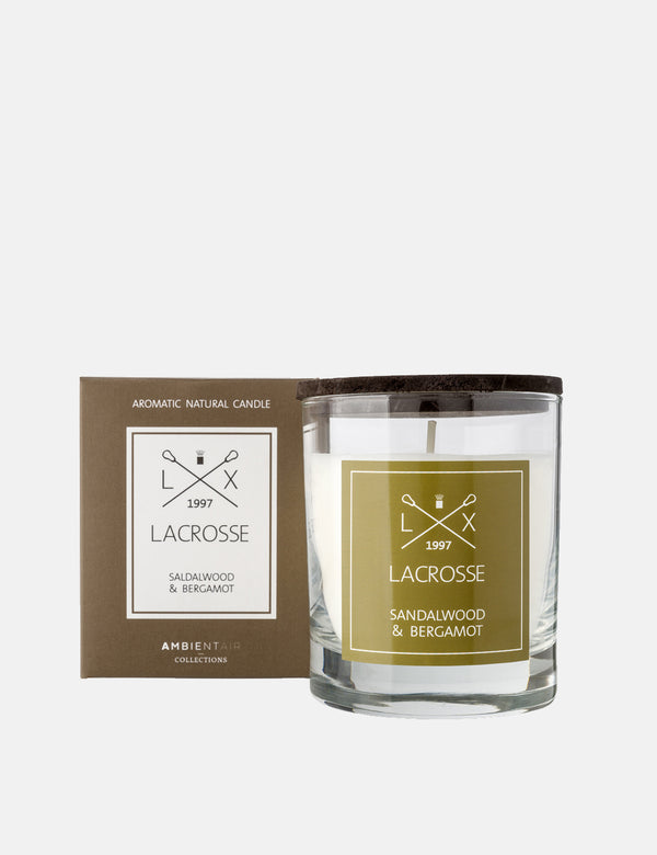 Lacrosse Glass Scented Candle - Sandalwood & Bergamot