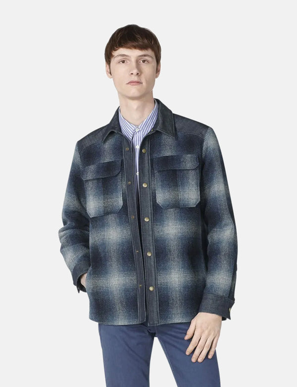 A.P.C. Mark Plaid Jacket (Wool) - Steel Blue
