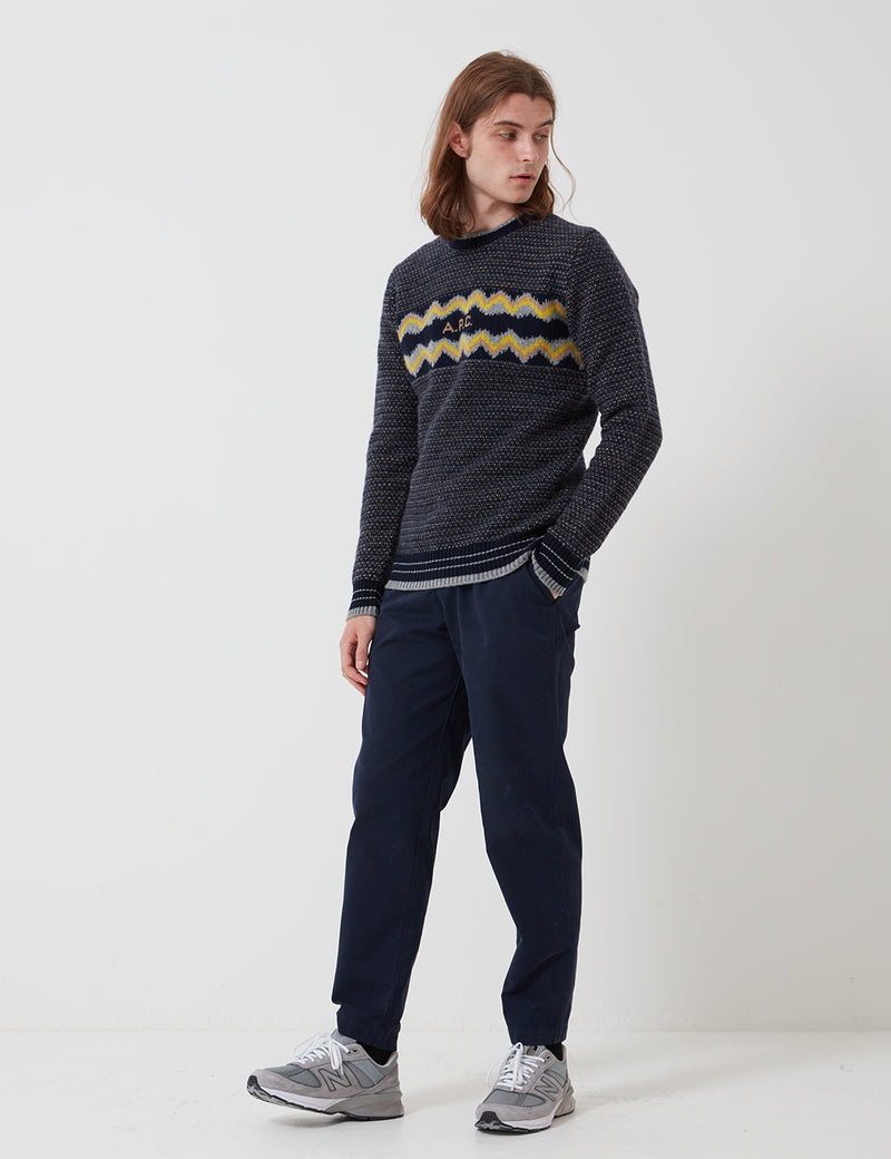 A.P.C. Ben Sweater (Lambswool Jacquard) - Dark Navy Blue