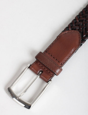 Dents Plaited Leather Belt - Brown