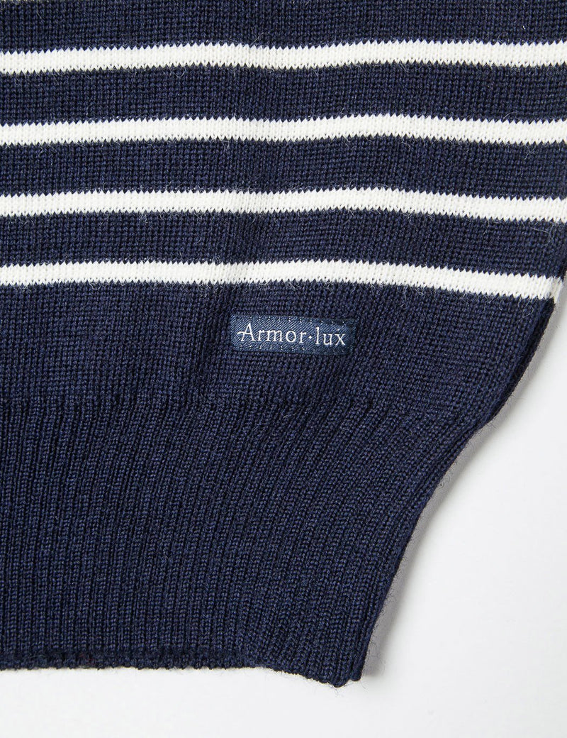 Armor Lux Dumet Striped Knit Jumper - Navy Blue - Article