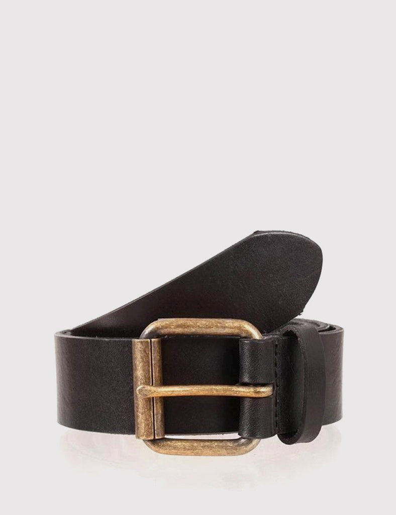 Dents Casual Waxed Leather Belt - Black Leather